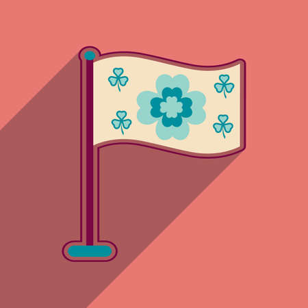 Flat web icon with long shadow flag clover Illustration