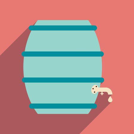 keg: Flat web icon with long shadow keg of beer Illustration