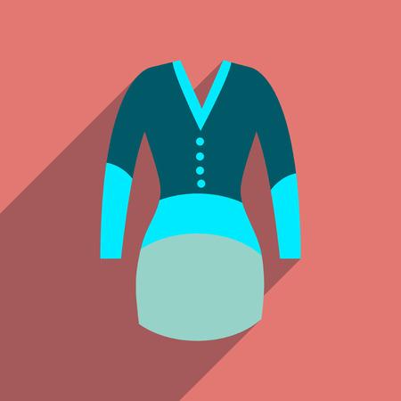 elegant dress: Flat icon with long shadow  elegant dress