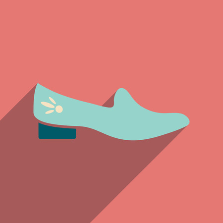 heeled: Flat icon with long shadow  heeled shoes