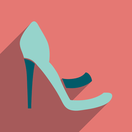 heelpiece: Flat icon with long shadow  stiletto heels Illustration