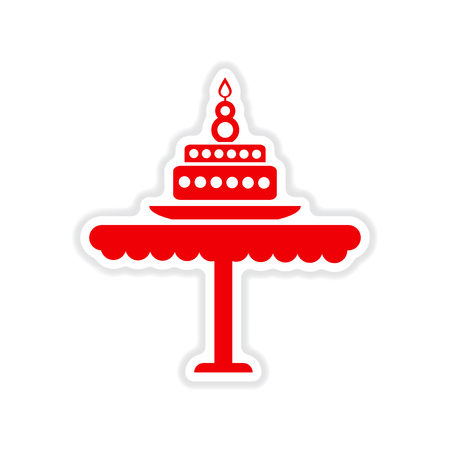 white candle: paper sticker on white background  candle cake Illustration