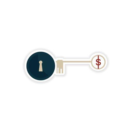 dwell: stylish sticker on paper key lock money