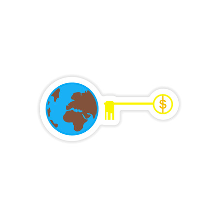 patent key: stylish sticker on paper  globe and key money Illustration