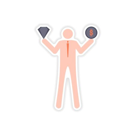 hoard: stylish sticker on paper man holding diamond and coin