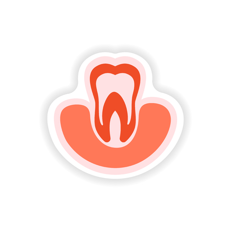 gums: paper sticker on white background tooth in gums