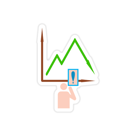 plunge: stylish sticker on paper falling graph and people