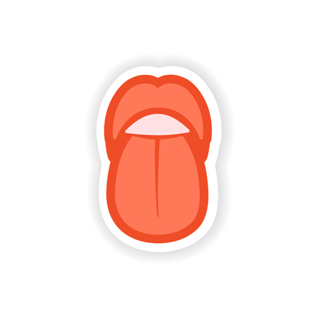 uvula: paper sticker on white background mouth and tongue