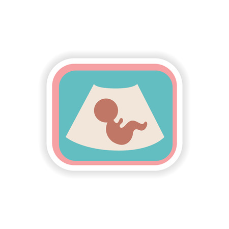 paper sticker on white background baby ultrasound