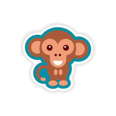 etiqueta de papel sobre fondo blanco pequeño mono