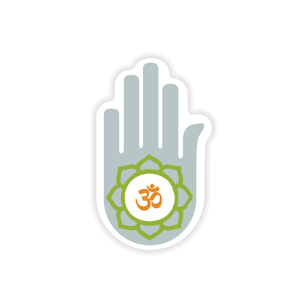 jain: paper sticker Indian sign on white background
