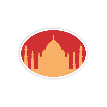 intricacy: paper sticker Indian Taj Mahal on white background Illustration
