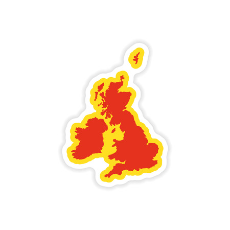 oxford: paper sticker map Britain on white background
