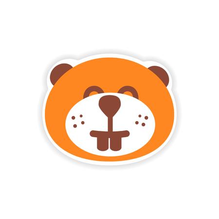 castor: etiqueta de papel castor canadiense en el fondo blanco Vectores