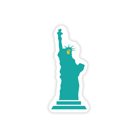 enlightening: paper sticker The Statue of Liberty on white background Illustration