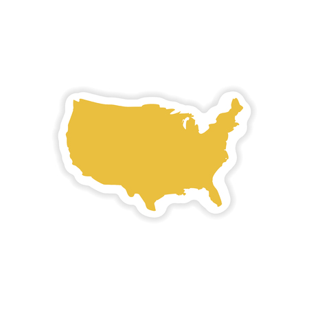 star spangled: paper sticker map of USA on white background