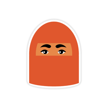 burqa: stylish paper sticker on white background woman in burqa Illustration