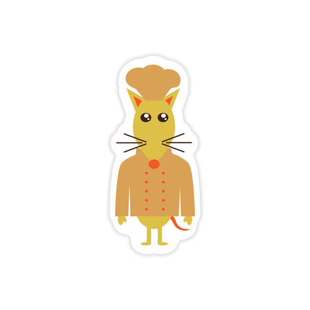 apparel part: stylish paper sticker on white background mouse chef