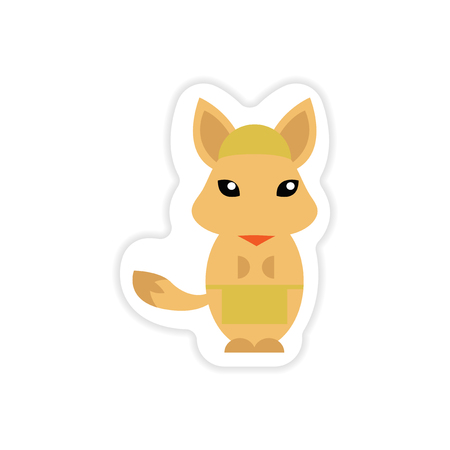 masseur: stylish paper sticker on white background fox masseur Illustration