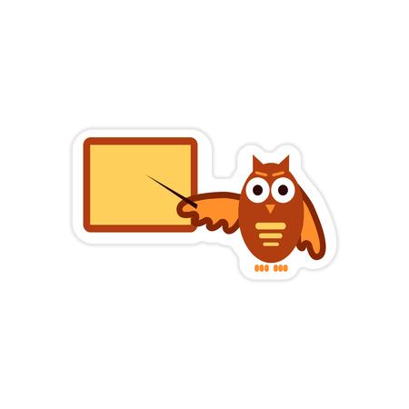educative: stylish paper sticker on white background owl teacher