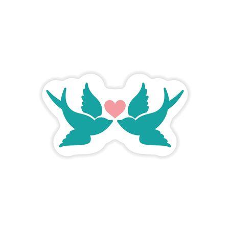 inseparable: paper sticker on white background birds heart Illustration