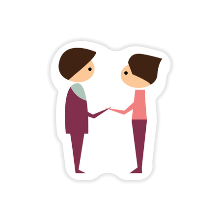 stereotype: paper sticker on white background groom with friend Illustration