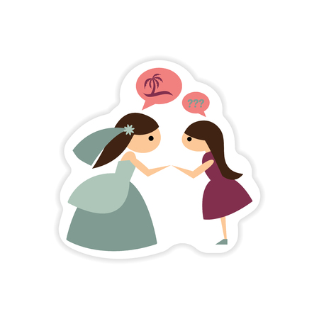 matrimony: paper sticker on white background Bride with friend