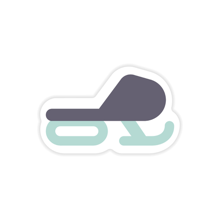 snow track: paper sticker on white background Snow mobile Illustration