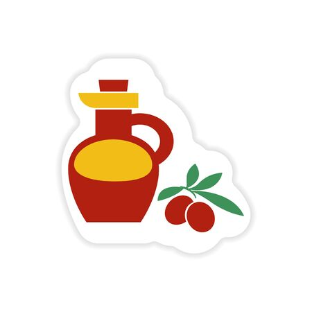 organic fluid: paper sticker on white background olive oil