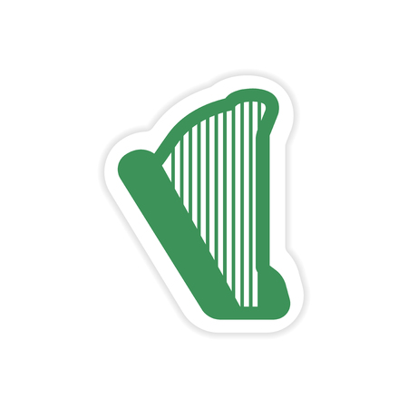 lyra: paper sticker on white background Greek harp