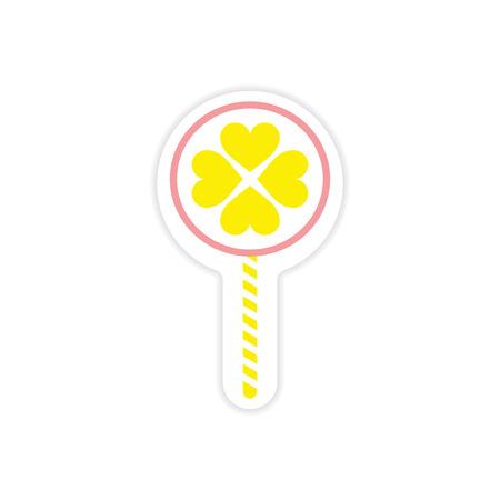 sugarplum: paper sticker on white background candy heart