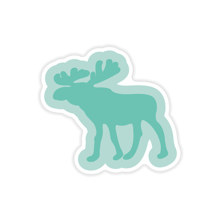 arctic: paper sticker on white background Arctic moose