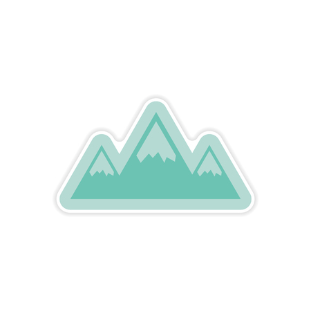 arctic: paper sticker on white background Arctic mountains