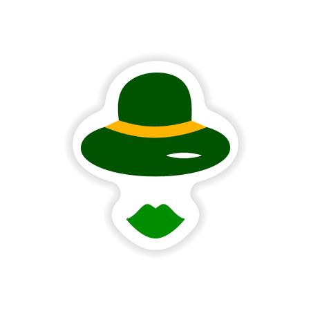 elegantly: stylish paper sticker on white background hat lips