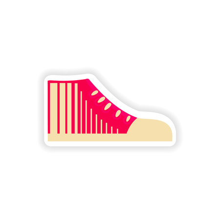 article of clothing: stylish paper sticker on white background gumshoes