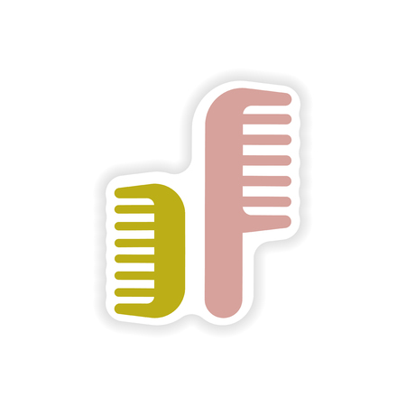 combs: stylish paper sticker on white background combs