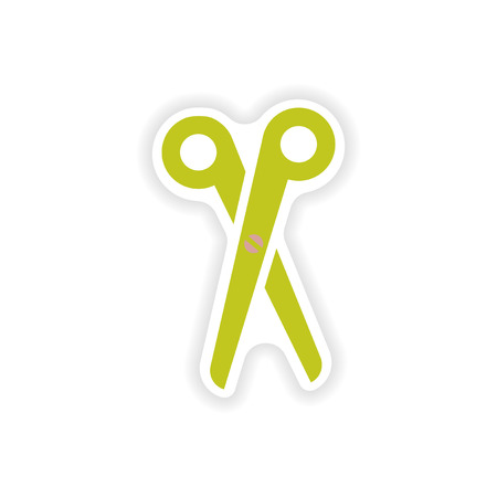 simple cross section: stylish paper sticker on white background scissors