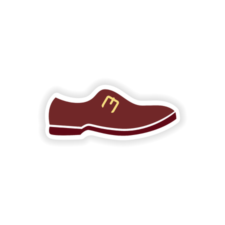 varnished: stylish paper sticker on white background mans shoes