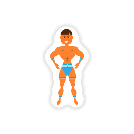trini: stylish paper sticker on white background carnival man