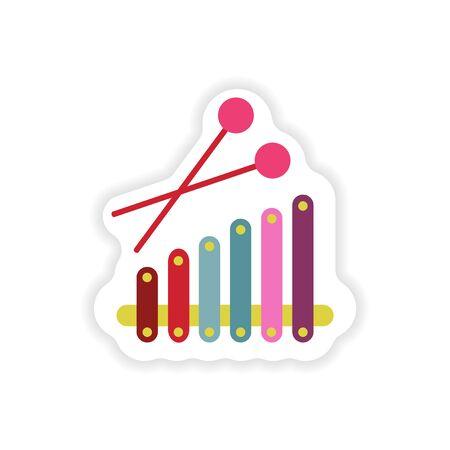 xylophone: stylish paper sticker on white background Xylophone