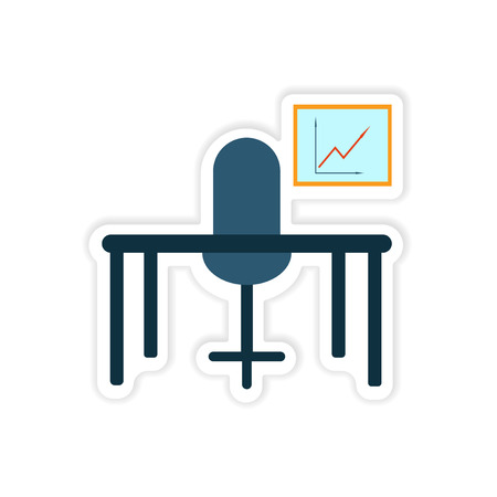 stylish chair: stylish sticker on paper table chair chart Illustration