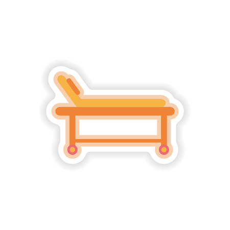 hospital stretcher: paper sticker on white background hospital stretcher