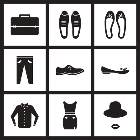 white clothes: Concept flat icons in black and white  clothes