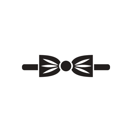 official wear: Flat icon in black and white  bow tie