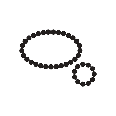 Flat icon in black and white  beads bracelet