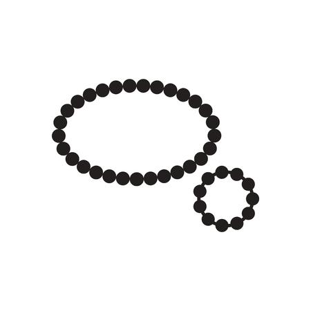 rubin: Flat icon in black and white  beads bracelet