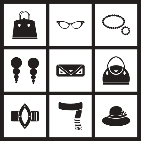white women: Concept flat icons in black and white  women accessories