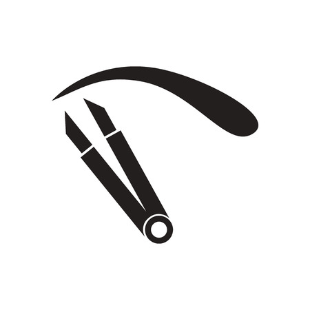 tweezer: Flat icon in black and white  eyebrow tweezers Illustration