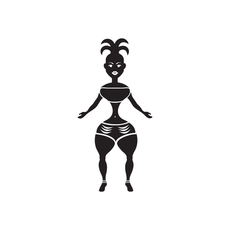 latin american girls: Flat icon in black and white  carnival dancer
