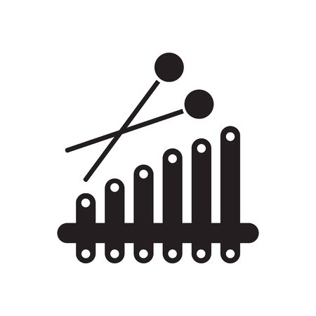 tuned: Flat icon in black and white  xylophone Illustration